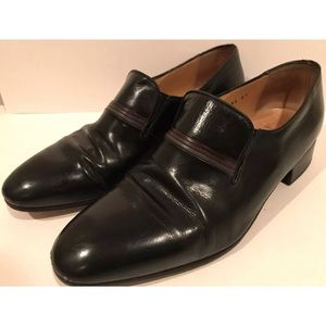 70s Black Leather Slip-Ons Loafers 8 41 Alta Moda